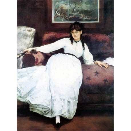 Repose, Portrait of Berthe Morisot By Edouard Manet - Art gallery oil painting reproductions