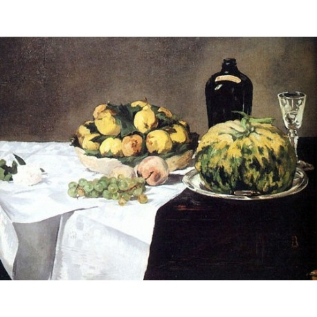 Still Life with Melon and Peaches By Edouard Manet - Art gallery oil painting reproductions