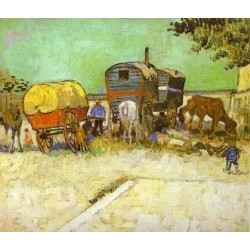 The Caravans Gypsy Camp near Arles by Vincent Van Gogh - Art gallery oil painting reproductions