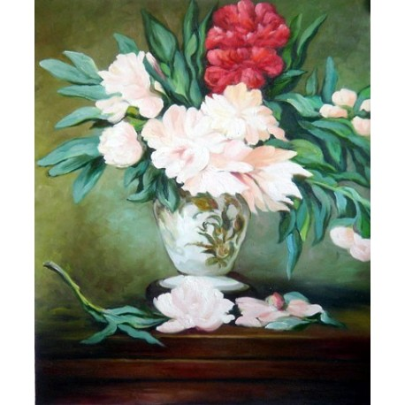 Vase of Peonies 1864 By Edouard Manet - Art gallery oil painting reproductions
