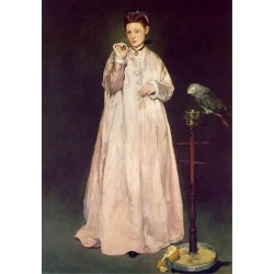 Woman with Parrot 1866 By Edouard Manet - Art gallery oil painting reproductions