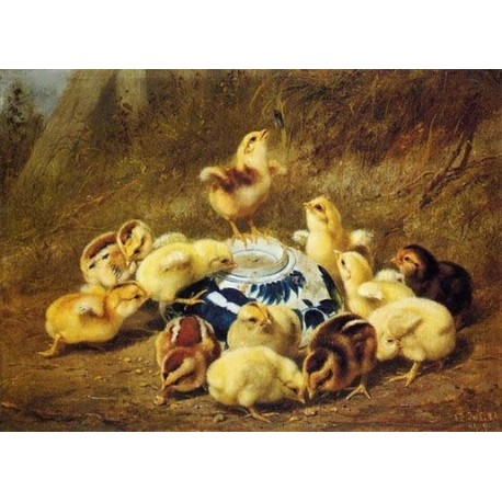 Chicks and Delft Bowl By Arthur Fitzwilliam Tait - Art gallery oil painting reproductions