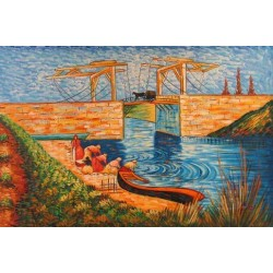 The Langlois Bridge at Arles with Women Washing 2 by Vincent Van Gogh - Art gallery oil painting reproductions
