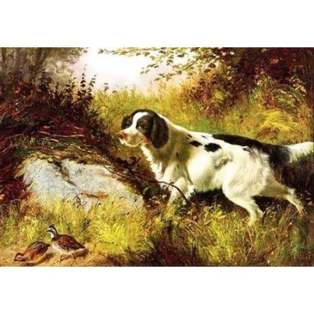 Dog and Quail By Arthur Fitzwilliam Tait - Art gallery oil painting reproductions