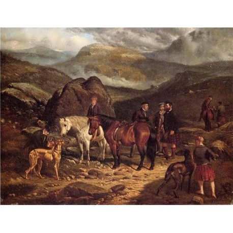 Hunting on the Scottish Highlands By Arthur Fitzwilliam Tait - Art gallery oil painting reproductions