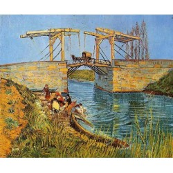 The Langlois Bridge at Arles with Women Washing by Vincent Van Gogh - Art gallery oil painting reproductions