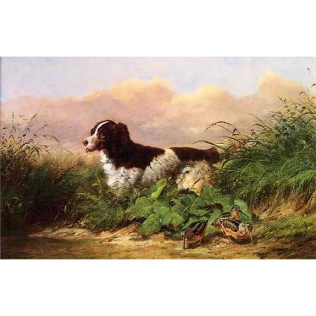 Setter and Woodcock By Arthur Fitzwilliam Tait - Art gallery oil painting reproductions