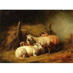 Sheep in Shed By Arthur Fitzwilliam Tait - Art gallery oil painting reproductions