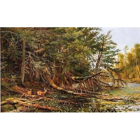 The Outlet of St. Regis Lake By Arthur Fitzwilliam Tait - Art gallery oil painting reproductions