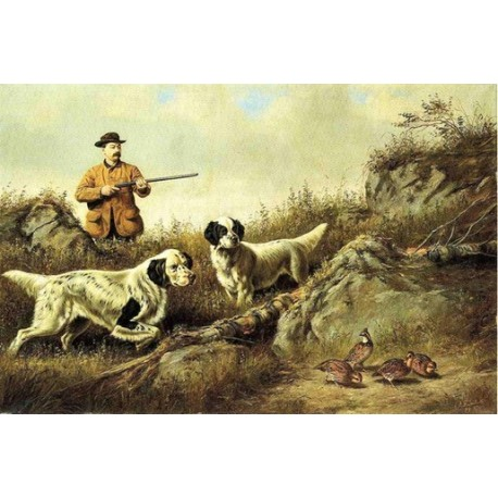 Amos F. Adams Shooting Over Gus Bondher and Son. Count Bondher By Arthur Fitzwilliam Tait -Art gallery