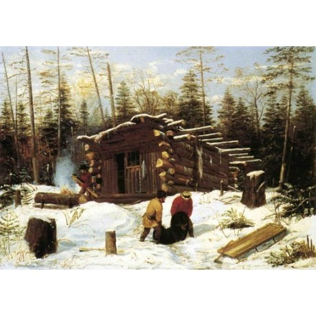 Bringing Home Game - Winter Shanty at Ragged Lake By Arthur Fitzwilliam Tait - Art gallery oil painting reproductions