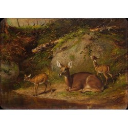 Doe and Two Fawns By Arthur Fitzwilliam Tait - Art gallery oil painting reproductions