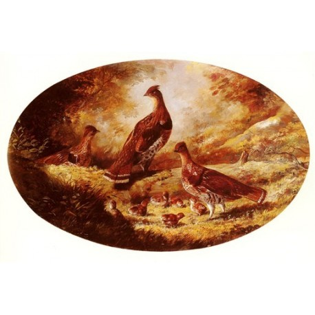 Grouse Family By Arthur Fitzwilliam Tait - Art gallery oil painting reproductions
