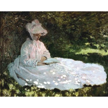 A Woman Reading by Claude Oscar Monet - Art gallery oil painting reproductions