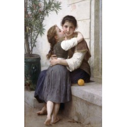 A Little Coaxing 1890 by William Adolphe Bouguereau - Art gallery oil painting reproductions