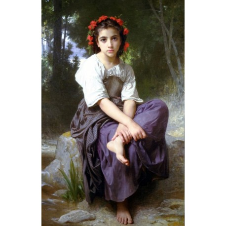 At the Edge of the Brook 1875 by William Adolphe Bouguereau - Art gallery oil painting reproductions