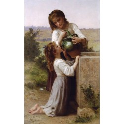 At the Fountain 1897 by William Adolphe Bouguereau - Art gallery oil painting reproductions