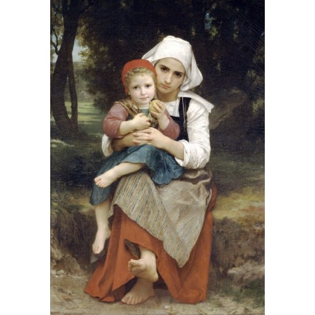Breton Brother and Sister 1871 by William Adolphe Bouguereau - Art gallery oil painting reproductions