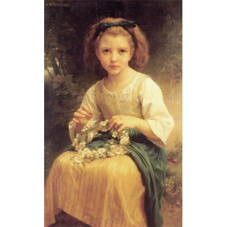 Child Braiding a Crown 1874 by William Adolphe Bouguereau - Art gallery oil painting reproductions