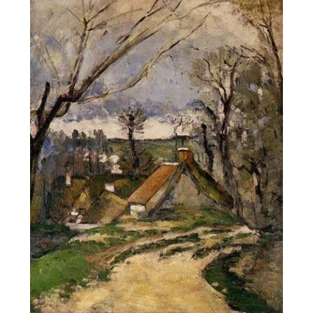 The Cottages of Auvers by Paul Cezanne-Art gallery oil painting reproductions
