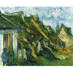 Old Cottages-Chaponval by Vincent Van Gogh - Art gallery oil painting reproductions