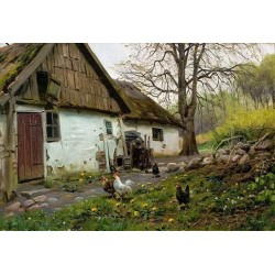 Bromolle Farm with Chickens - Art gallery oil painting