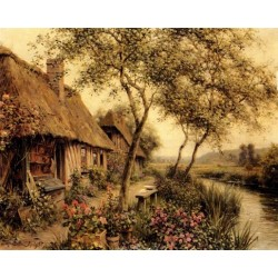 Cottages Beside a River - Art gallery oil painting