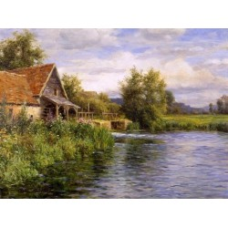 Cottage by the River - Art gallery oil painting