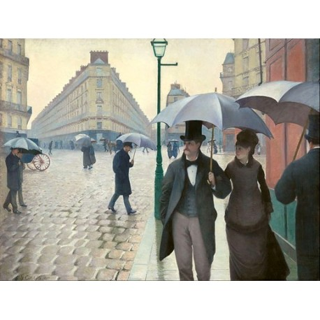 Paris Street, Rainy Day 1877 by Gustave Caillebotte - oil painting art gallery
