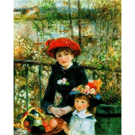 Two Sisters Aka on the Terrace by Pierre Auguste Renoir - oil painting art gallery