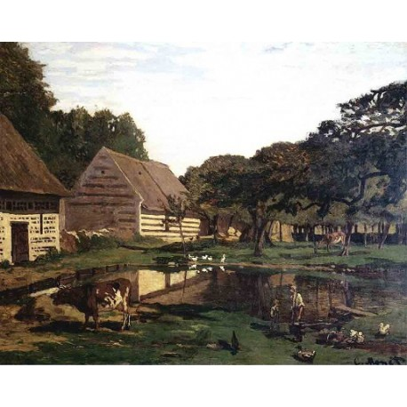 A Farmyard In Normandy by Claude Oscar Monet - Art gallery oil painting reproductions