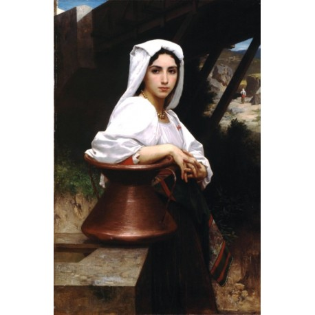 Italian Girl Drawing Water 1871 by William Adolphe Bouguereau - Art gallery oil painting reproductions