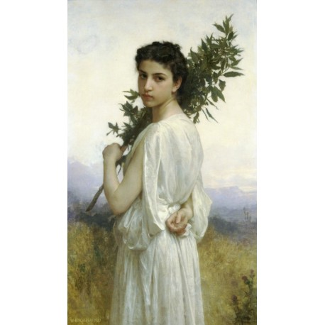 Laurel Branch 1900 by William Adolphe Bouguereau - Art gallery oil painting reproductions