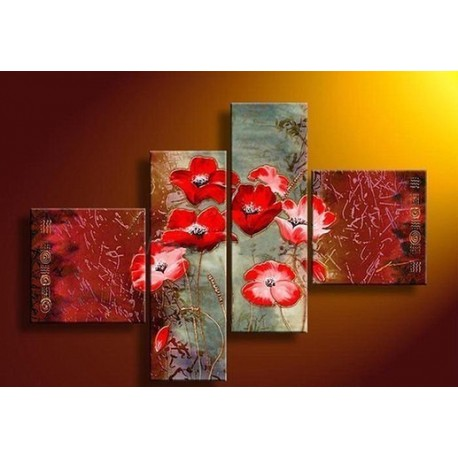 Red Flowers | Oil Painting Abstract art Gallery