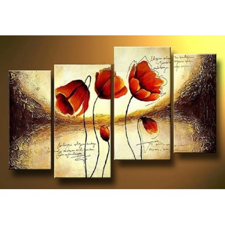 Three Red Flowers | Oil Painting Abstract art Gallery