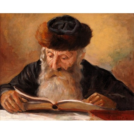 Rabbi reading by lazar krestin oil painting jewish art for Israeli artists oil paintings