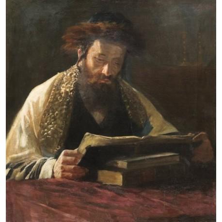 Rabbi Studying by Lazar Krestin | Jewish Art Oil Painting Gallery