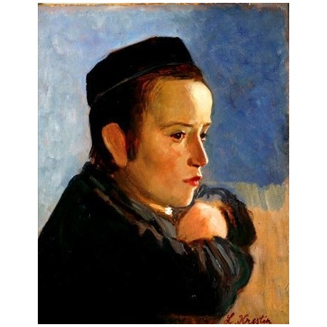 A boy by Lazar Krestin oil painting | Jewish Art Oil Painting Gallery
