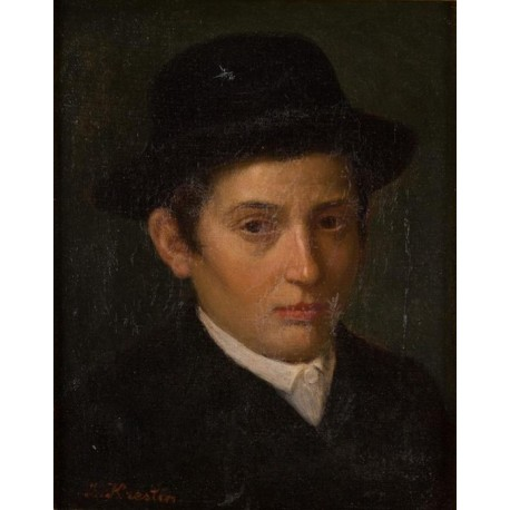 A Jewish Boy by Lazar Krestin | Jewish Art Oil Painting Gallery