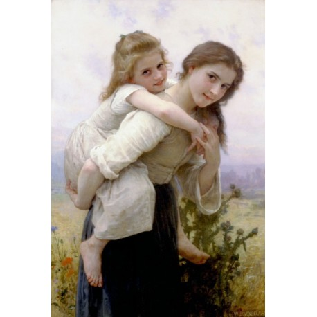 Not Too Much To Carry 1895 by William Adolphe Bouguereau -Art gallery oil painting reproductions