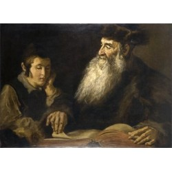 Father & Son by Lazar Krestin | Jewish Art Oil Painting Gallery