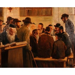 Chevra Shas by Lazar Krestin | Jewish Art Oil Painting Gallery