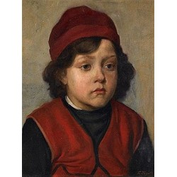 Portrait of a Boy by Lazar Krestin | Jewish Art Oil Painting Gallery
