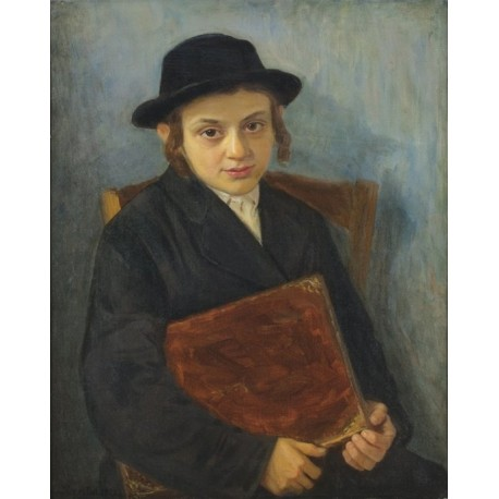 Portrait of a Jewish Boy by Lazar Krestin | Jewish Art Oil Painting Gallery