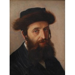 Portrait of a Hasid 1898 by Lazar Krestin | Jewish Art Oil Painting Gallery
