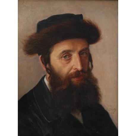 Portrait of a Hasid 1898 by Lazar Krestin | Jewish Art Oil Painting Gallery