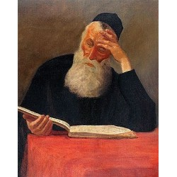 Rabbi Learning II by Lazar Krestin | Jewish Art Oil Painting Gallery