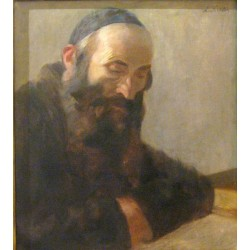 Rabbi Learning by Lazar Krestin | Jewish Art Oil Painting Gallery