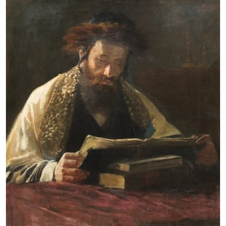 Rabbi Studying by Lazar Krestin | Jewish Art Oil Painting Gallery