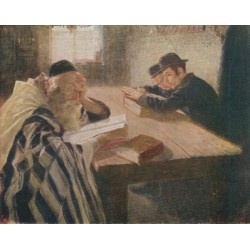 The Dispute in Learning by Lazar Krestin | Jewish Art Oil Painting Gallery